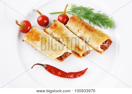 traditional italian cannelloni with fennel and peppers
