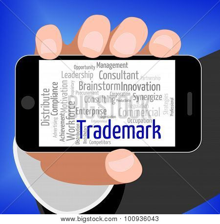Trademark Word Shows Proprietary Name And Hallmark