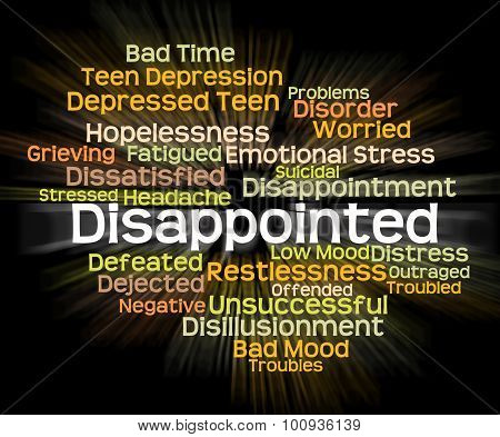Disappointed Word Represents Let Down And Chagrined