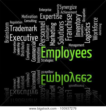 Employees Word Shows Member Of Staff And Hireling