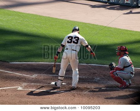 Giants Aaron Rowand Digs Feet Into Batters Box