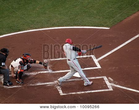 Ryan Howard Connects With Incoming Pitch With Buster Posey Catching