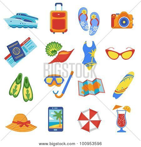 Summer vacation flat icons collection