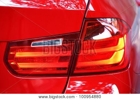 Taillights of red car