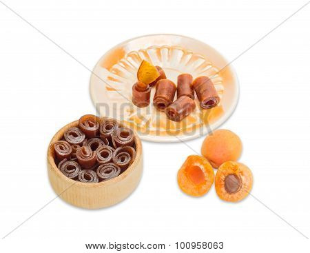 Apricot Pastila And Two Ripe Apricot On A Light Background