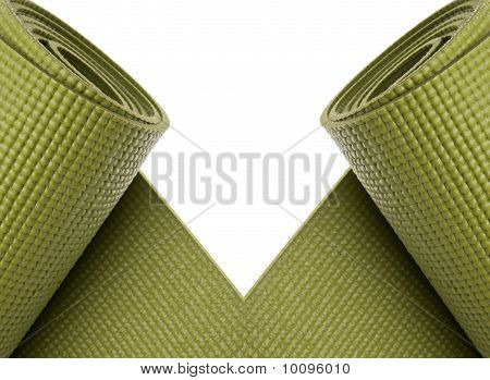 Green Yoga Exercise Mats Border
