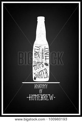 Typographical Background. Vintage beer emblem, label, design element. Typography illustration.
