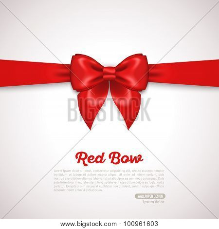 Gift Card Design with red Bow with Place for Text.