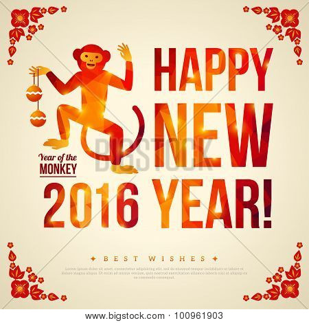 Happy Chinese New Year 2016 Greeting Card.