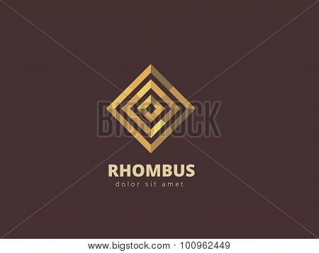 Rhombus Abstract Metal Logo Design Template. Business Infinity Symbol. Gold Looped Infinity Shape. V