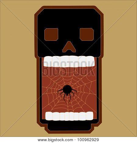 Vector Illustration of a Halloween Skull