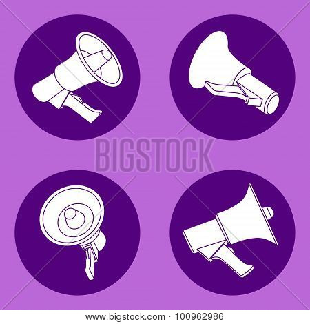Four megaphone flat icons
