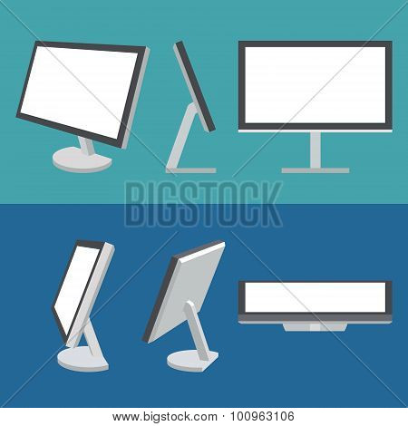Monitor web vector icons set