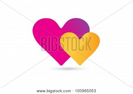 Hearts icon vector logo together