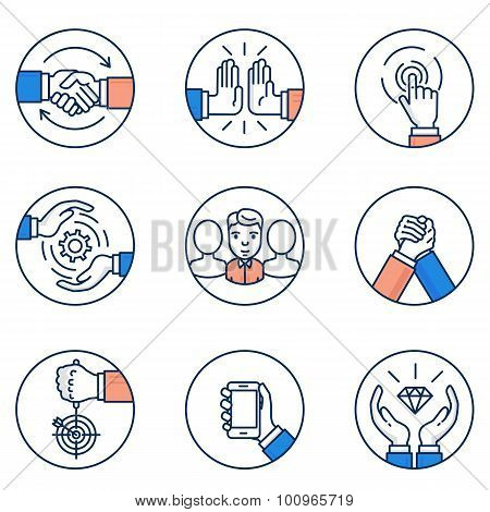 Vector Set Of Customer Relationship Management And Business Negotiation Icons. Flat Linear Pictogram