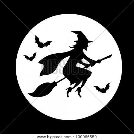 Witch flying over the moon // Silhouette // Halloween // Black & White