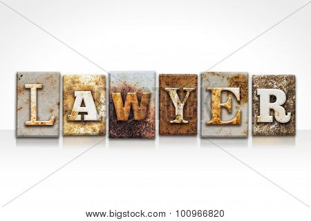 Lawyer Letterpress Concept Isolated On White