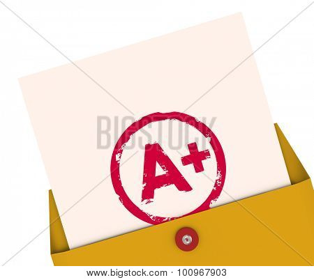 Report Card with A+ or Plus stamped on it within a yellow envelope to show your results, score, evlatuion, rating or review for a class or course