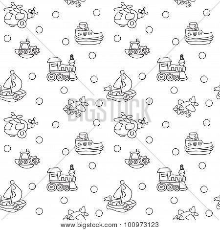 Seamless pattern with childrens toys