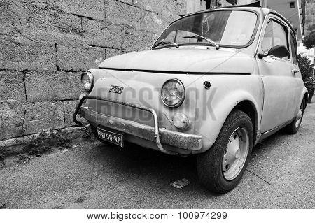 Old Fiat Nuova 500 City Car, Close Up