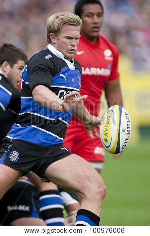 BATH, ENGLAND. 10 SEPTEMBER 2011  Bath's Michael Claassens, in action during the Aviva Premiership match between Bath and Saracens at the Recreation Ground Bath England.