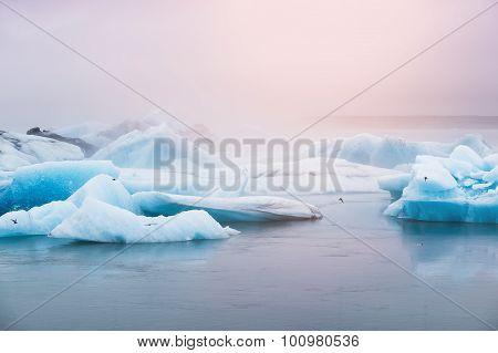 Beautiful Blue Icebergs In Jokulsarlon Glacial Lagoon, Iceland