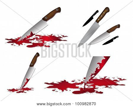 Realistic bloody knife. Knife with blood vector illustration set. Kitchen knife set isolated on whit