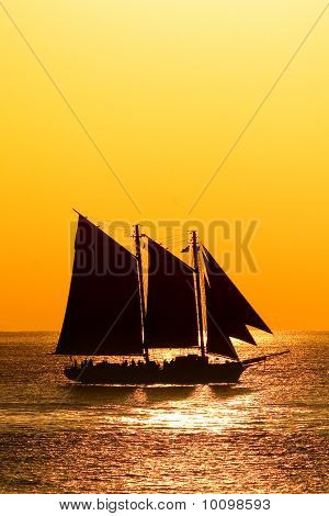Sailboat against in sunset