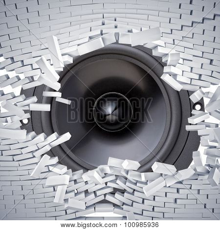 broken brick wall and huge speaker woofer