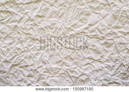 texture of old crumpled paper closeup of pale cream color for empty and pure backgrounds poster