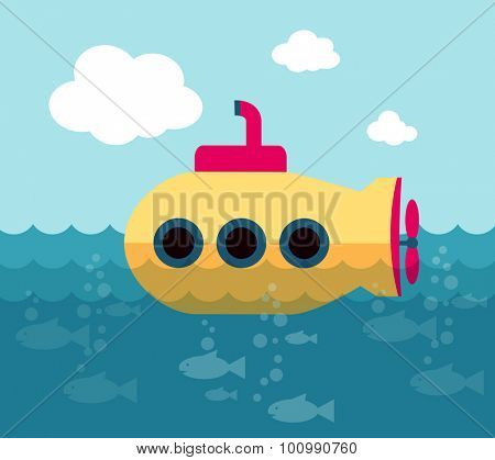 Yellow submarine swimming in the ocean (vector illustration, flat conception)