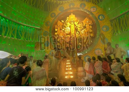 Priest Praying To Goddess Durga, Durga Puja Festival, Kolkata, India