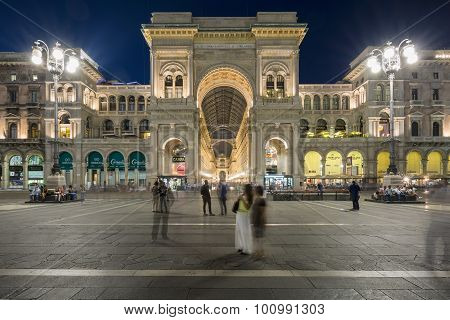 MILAN ITALY - AUGUST 28 : View of Galleria Vittorio Emanuele II in Milan by night on August 28 2015. Built in 1875 this gallery is one of the most popular shopping areas in Milan.