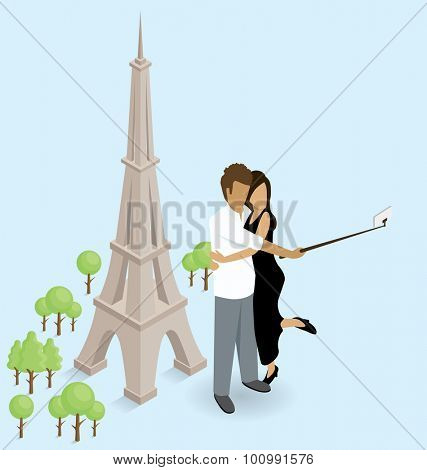 Vector flat isometric couple making selfie near the Eiffel Tower in Paris