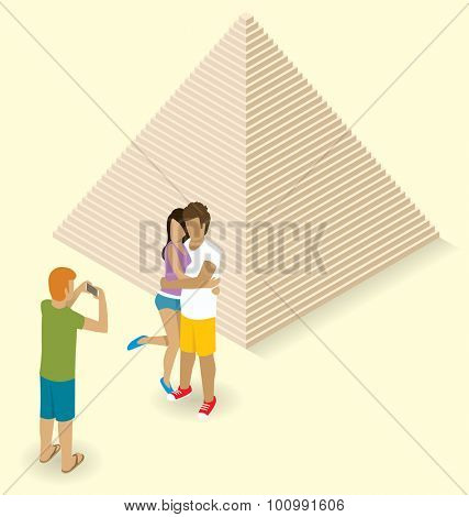 Vector flat isometric couple making selfie near the egyptian pyramid