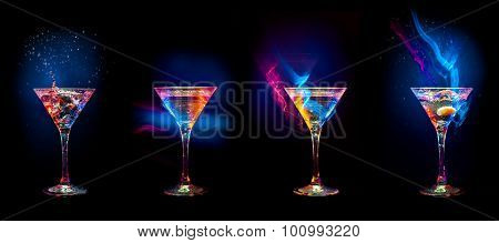 Bright  cocktails in glasses   isolated on the black