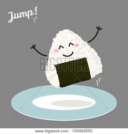 Jumping onigiri (japanese rice ball) illustration.