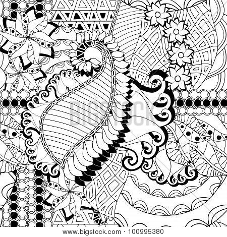Stock Vector Seamless Abstract Monochrome Doodle Flower And Wave Pattern