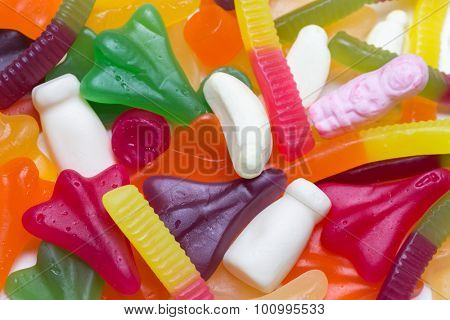 Colorful chewy gummy candy junk food