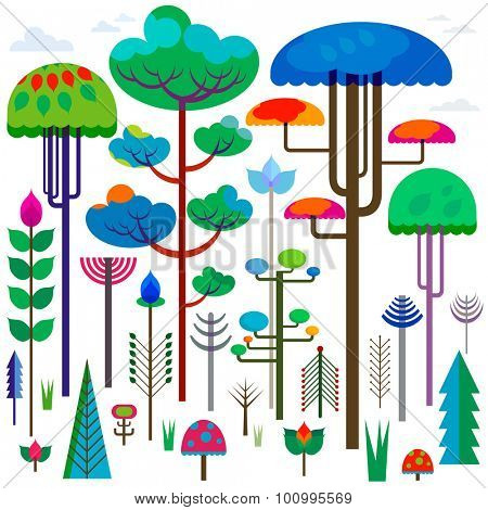 forest with colorful whimsy trees