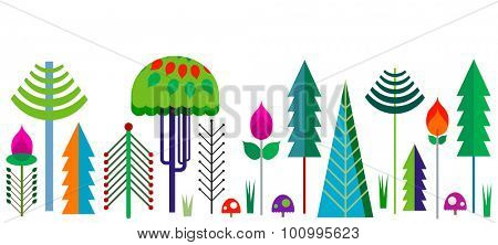 forest border with colorful whimsy trees