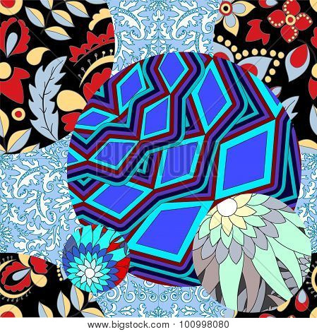 Vector Seamless Patchwork Pattern. Slavs Or Russian Design