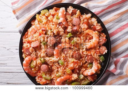 Creole Jambalaya With Shrimp And Sausage Close-up. Horizontal Top View