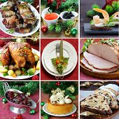 collage festive Christmas menu (turkey, appetizers, cranberry sauce, cake and Stollen) poster