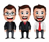 3D Realistic Businessman Cartoon Character with Different Business Attire and Necktie Isolated in White Background. Set of Vector Illustration. poster