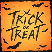 Trick or treat handwritten text Halloween vector illustration poster