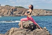 young beautiful fit brunette doing yoga on sea rocky coastline poster