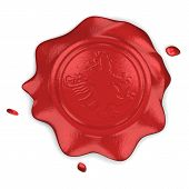 Wax seal with lion in field on white backgroun poster