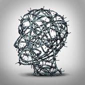 Tortured thinking and depression concept as a group of tangled barbwire or barbed wire fence shaped as a human head as a metaphor for psychological or psychiatric condition of suffering and victim of oppression or mental illness. poster