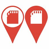 Map pointer. Micro sd card. Flat design style eps 10 poster